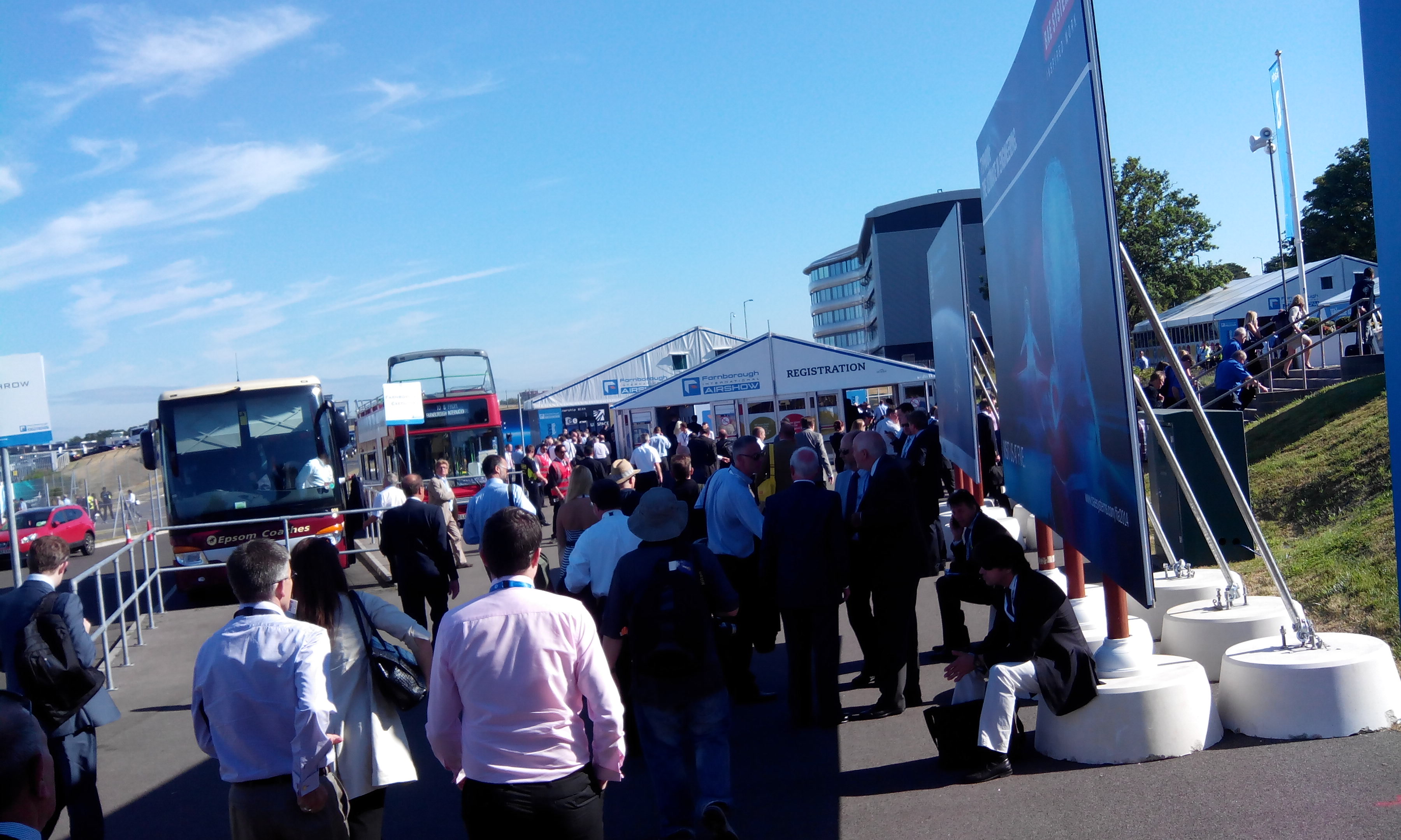 Farnborough queue for the security