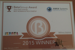 BetaGroup Award, BEST WOMAN IN TECH STARTUP