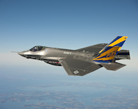 An F-35C Lightning II, marked CF-1, conducts a test flight over Chesapeake Bay in February 2011 - source Wikipedia