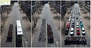 Amount of road space cars take up vs. cyclists and a bus.